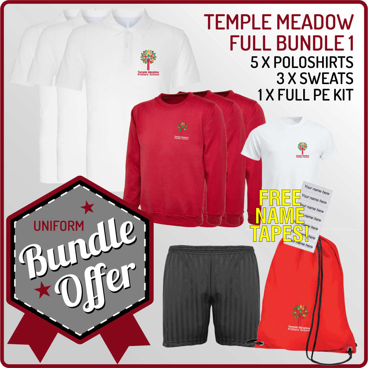 Bundle offer of 5 Poloshrts, 3 Sweatshirts, PE T, Shorts and PE Back with 12 Free name tapes!
