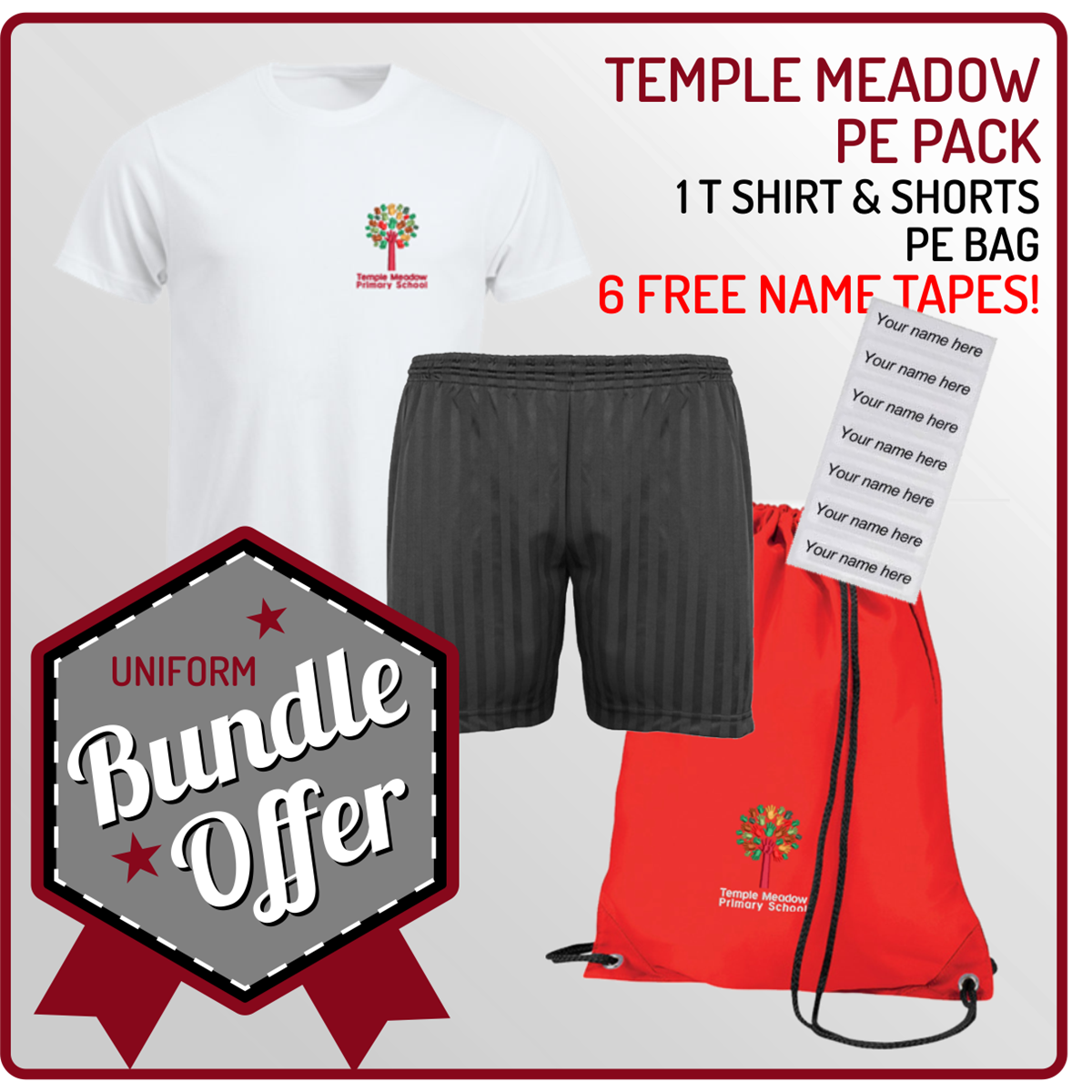 Bundle offer of T Shirt, Shorts and a PE Bag! - includes FREE NAMES TAPES!